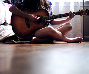 girl, guitar, and instrument image