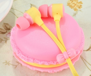 candy, earphone, and pink image