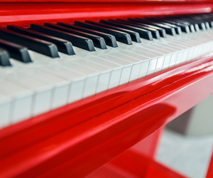 music, piano, and red image