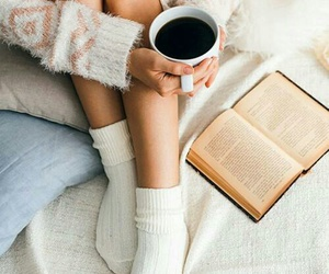book, coffee, and socks image