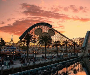 disney, disneyland, and sunset image