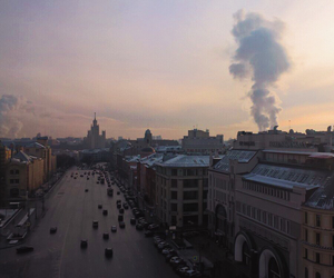 city, moscow, and sunrise image