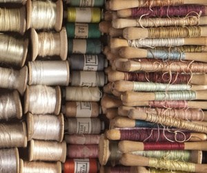 pastel colors, spools, and sewing image