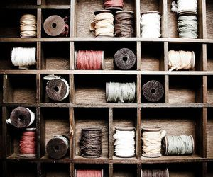pastel colors, sewing, and thread image