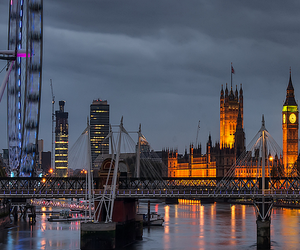 london, night, and travel image