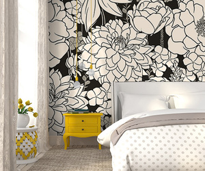 bedroom, mural, and black and white image