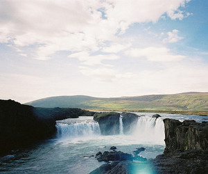 waterfall, nature, and sky image