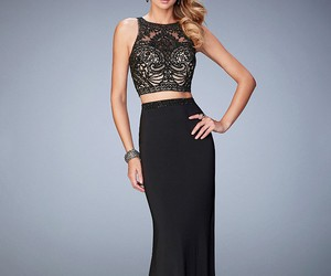 beaded, evening gown, and high neck image