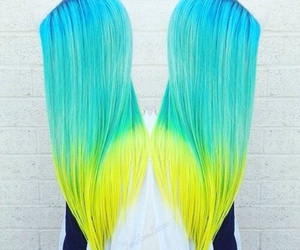 hair, green, and yellow image