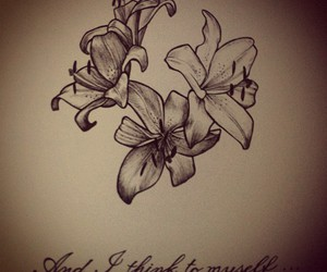 art, flowers, and letters image