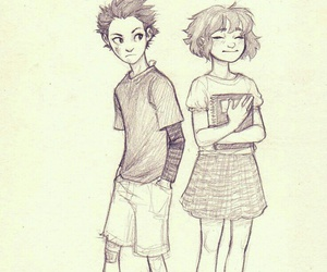 art, couple, and cute girl image