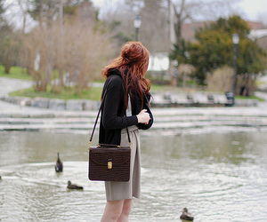 girl, red hair, and ducks image