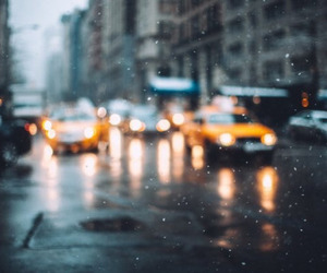 city, rain, and snow image