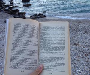 book, beach, and sea image