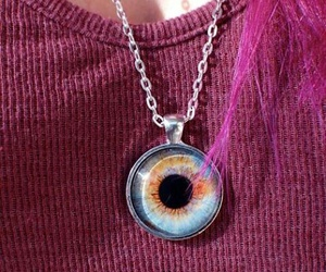 eye, necklace, and pink image