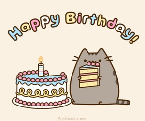 cat, happy birthday, and cake image