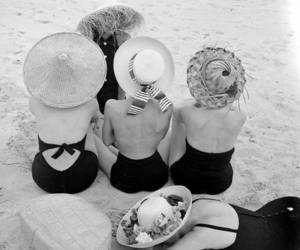 beach, vintage, and black and white image