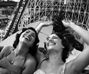 black and white, happy, and fun image