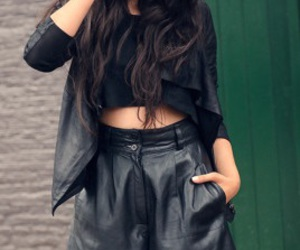 leather, black, and outfit image
