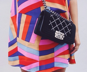 chanel, colorful dress, and colour block image