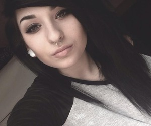 black hair, piercing, and girl image