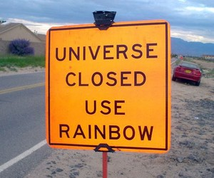 rainbow, universe, and sign image