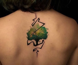 tattoo, tree, and green image