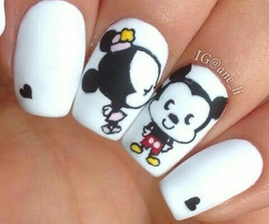 mickey mouse, nail art, and love image