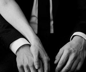 couple, hands, and black and white image