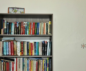 bookcase, books, and reader image