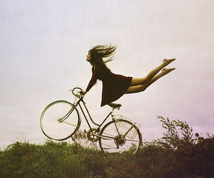 bicycle, green, and jump image
