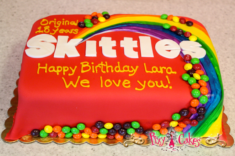 Pleasing Skittles Birthday Cake Inspiration Discovered By Ginnie Birthday Cards Printable Benkemecafe Filternl