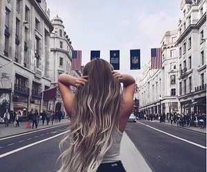 hair, girl, and street image