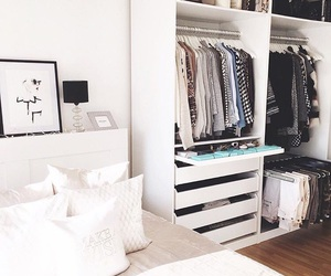 bed, closet, and cushions image
