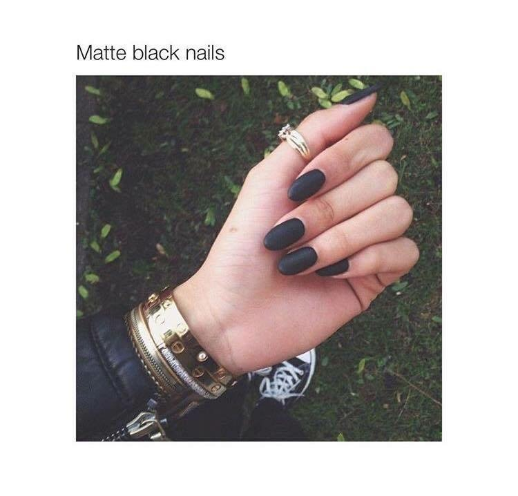 Matte black nails goals💗 shared by takemesomewhere