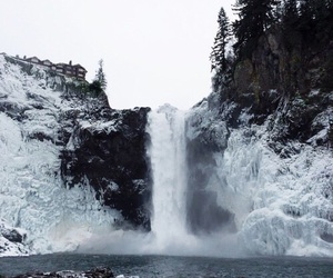 nature, snow, and waterfall image