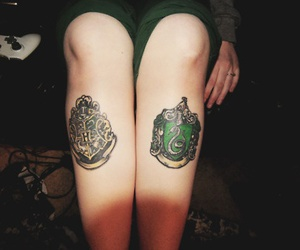 tattoo, harry potter, and slytherin image