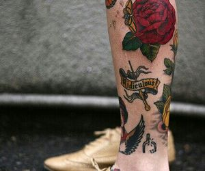 tattoo, leg, and rose image