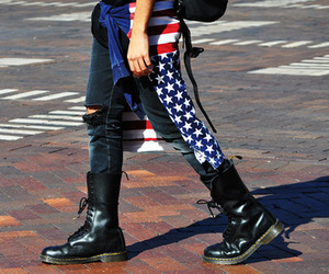 black and white, boots, and usa image