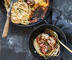 pasta, meatballs, and food image