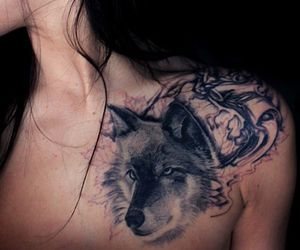 wolf, wolves, and wolf tattoo image