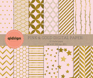 etsy, pink and gold, and gold paper image