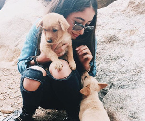 girl, animals, and puppy image