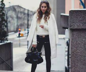 ankle boots, woolen coat, and beauty image