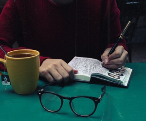 glasses, book, and tea image
