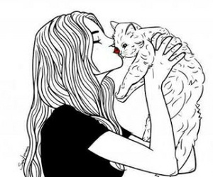 cat, girl, and outline image