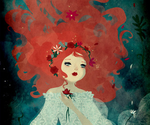 red hair, ophelia, and rose image
