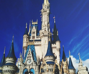 blue, castle, and disney world image