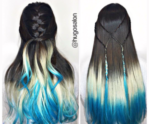 braid, hair, and blue image
