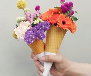 flowers, ice cream, and cone image